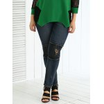Plus Size Frayed Appliqued Skinny Jeans