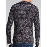 Floral and Figure Print Round Neck Long Sleeve Sweatshirt deal