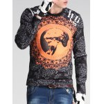 cheap Floral and Figure Print Round Neck Long Sleeve Sweatshirt