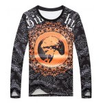 Floral and Figure Print Round Neck Long Sleeve Sweatshirt for sale