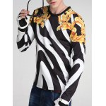 Floral and Color Block Print Round Neck Long Sleeve Sweatshirt deal