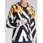 cheap Floral and Color Block Print Round Neck Long Sleeve Sweatshirt