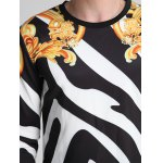 best Floral and Color Block Print Round Neck Long Sleeve Sweatshirt