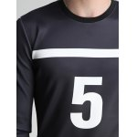 Number Five and Stripe Print Round Neck Long Sleeve Sweatshirt deal