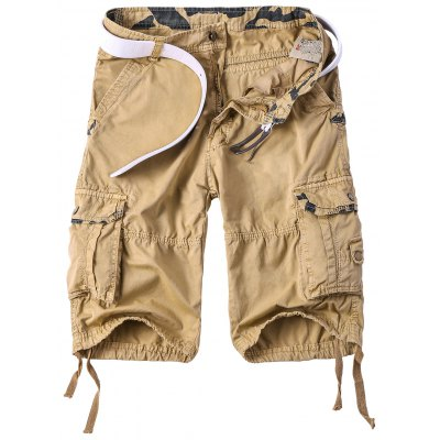 Multi-Pocket Camo Spliced Straight Leg Zipper Fly Cargo Shorts For Men