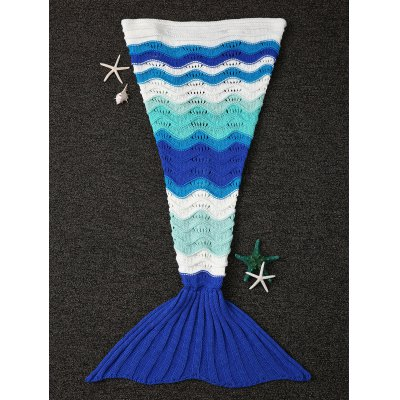 Wave Stripe Design Knitting Fish Tail Shape Blanket
