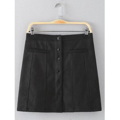 Button Design Solid Color Skirt
