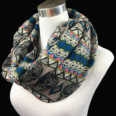 Ethnic Skull and Geometry Pattern Voile Neck Scarf