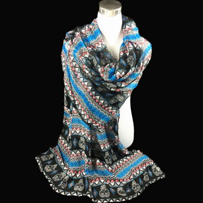 Ethnic Skull and Geometry Pattern Voile Scarf