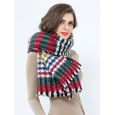 Colorful Plaid Pattern Fringed Wrap Scarf