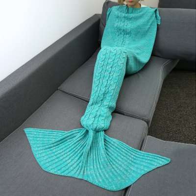 Knitting Hemp Flower Warm Comfortable Sofa Mermaid Blanket