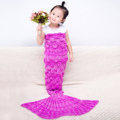 Comfortable Knitted Warmth Fish Scale Mermaid Blanket For Baby