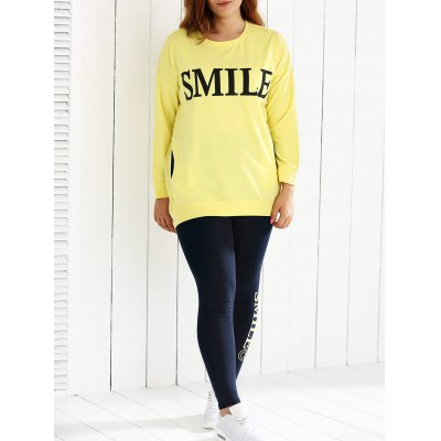 Loose Fitting Sweatshirt and Letter Print Leggings