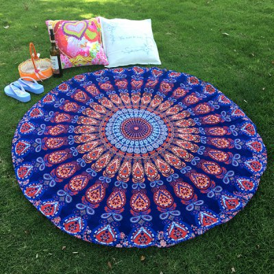 Mandala Feather Totem Chiffon Round Beach Throw
