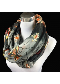 Casual Handpainted Butterfly Flower Pattern Voile Neck Scarf