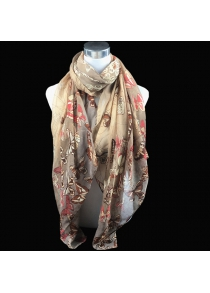 Casual Handpainted Butterfly Flower Pattern Voile Scarf