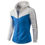 cheap Zipper Up Color Block Striped Hoodie
