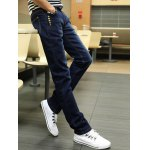 Buttons Design Zipper Fly Slim Fit Jeans deal
