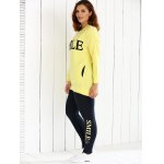 cheap Oversized Loose Fitting Sweatshirt and Letter Print Leggings