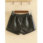 cheap Plus Size Elastic Waist Faux Leather Shorts