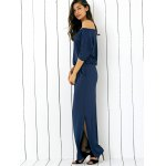cheap Pocket Side Slit Casual Fitted Long Maxi Dress