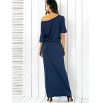 Pocket Side Slit Casual Fitted Long Maxi Dress deal