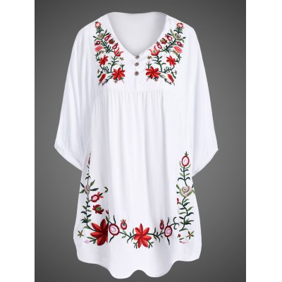 1/2 Sleeve Embroidered Plus Size Dress  For Women