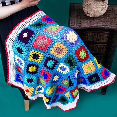 Knitting Comfortable Checkered Hollowed Blanket For Kids