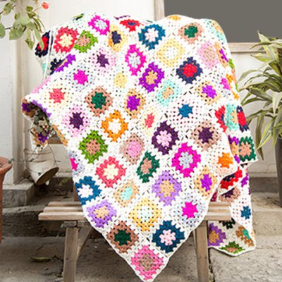 Knitted Square Plaid Floral Sofa Blanket