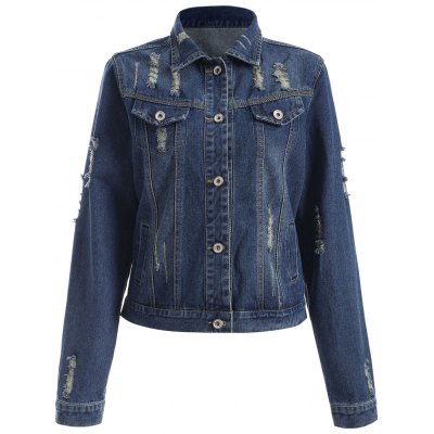 Buttoned Broken Hole Women's Denim Jacket