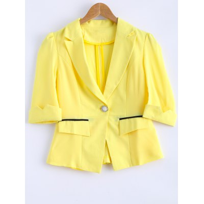 3/4 Sleeve One Button Slim Blazer