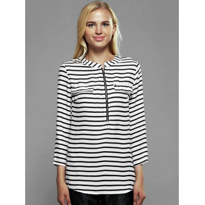 Zip Front Striped Blouse
