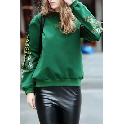 Peacock Embellished Sweatshirt