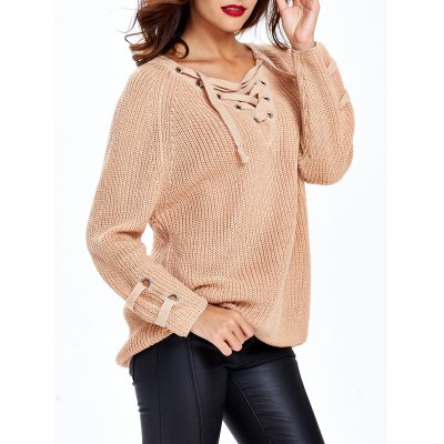 Lace Up Criss-Cross Long SweaterSweaters &amp; Cardigans<br>Lace Up Criss-Cross Long Sweater<br><br>Collar: V-Neck<br>Material: Spandex<br>Package Contents: 1 x Sweater<br>Pattern Type: Solid<br>Season: Fall, Spring<br>Sleeve Length: Full<br>Style: Fashion<br>Type: Pullovers<br>Weight: 0.428kg