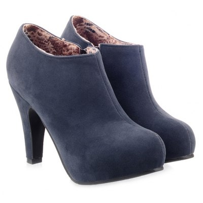 Cone Heel Suede Ankle Boots