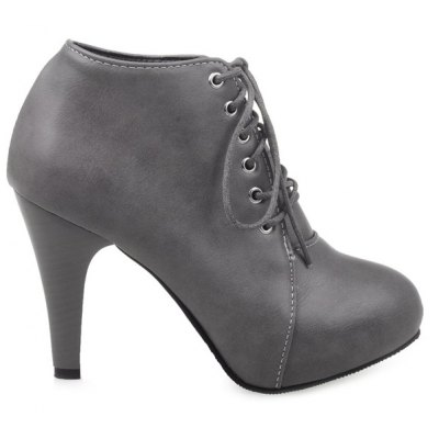 Platform Tie Up PU Leather Ankle Boots