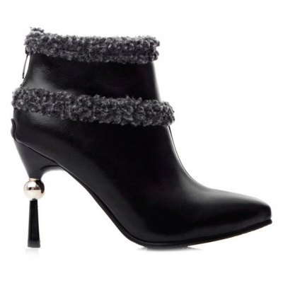 Pointed Toe Splicing Zipper Ankle Boots