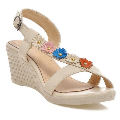 Metallic Cross Strap Wedge Flower Sandals