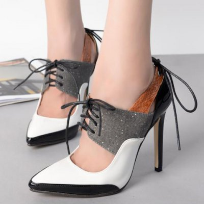 Tie Up Splicing Stiletto Heel Hollow Out Pumps
