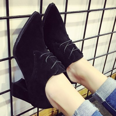 Chunky Heel Tie Up Pointed Toe Pumps