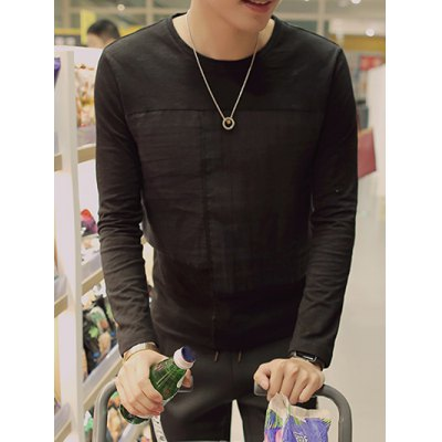 Plus Size Round Neck Splicling Design Long Sleeve T-Shirt
