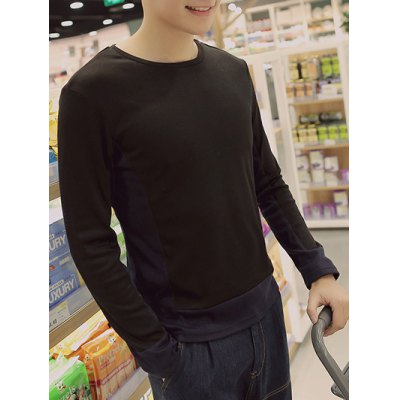 Plus Size Round Neck Color Block Splicling Design Long Sleeve T-Shirt