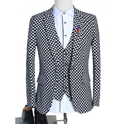Lapel Single Breasted Long Sleeve Plaid Three-Piece Suit ( Blazer + Waistcoat + Pants )Plus Size Outerwear<br>Lapel Single Breasted Long Sleeve Plaid Three-Piece Suit ( Blazer + Waistcoat + Pants )<br><br>Clothes Type: Others<br>Style: Fashion<br>Material: Cotton,Polyester<br>Collar: Turn-down Collar<br>Clothing Length: Regular<br>Sleeve Length: Long Sleeves<br>Season: Fall,Spring<br>Weight: 1.588kg<br>Package Contents: 1 x Blazer  1 x Waistcoat  1 x Pants