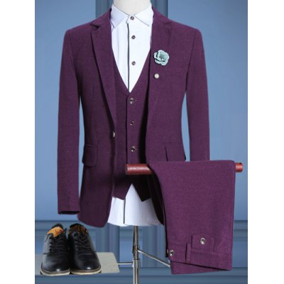 Plus Size Lapel Single Breasted Long Sleeve Three-Piece Suit ( Blazer + Waistcoat + Pants )