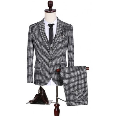 Plus Size Lapel Single Breasted Small Grid Long Sleeve Three-Piece Suit ( Blazer + Waistcoat + Pants )