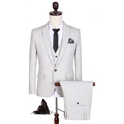 Lapel Long Sleeve Three-Piece Suit ( Blazer + Waistcoat + Pants )