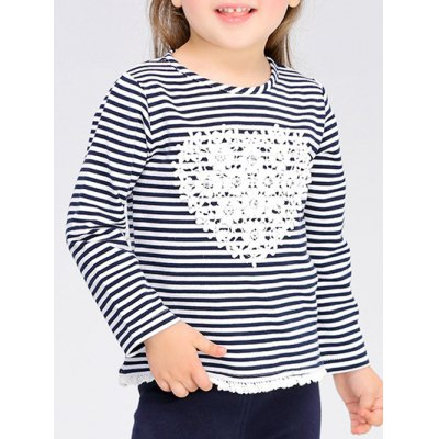 Striped Heart Pattern Long Sleeve T-Shirt