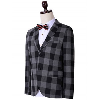 Plus Size Lapel Single Breasted Checked Long Sleeve Three-Piece Suit ( Blazer + Waistcoat + Pants )Plus Size Outerwear<br>Plus Size Lapel Single Breasted Checked Long Sleeve Three-Piece Suit ( Blazer + Waistcoat + Pants )<br><br>Clothes Type: Others<br>Style: Fashion<br>Material: Cotton,Polyester<br>Collar: Turn-down Collar<br>Clothing Length: Regular<br>Sleeve Length: Long Sleeves<br>Season: Fall,Spring<br>Weight: 1.900kg<br>Package Contents: 1 x Blazer  1 x Waistcoat  1 x Pants