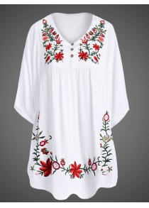 Embroidered Plus Size Casual Flower Dress