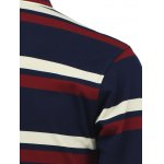 Stripe Turn-Down Collar Long Sleeve Polo T-Shirt for sale